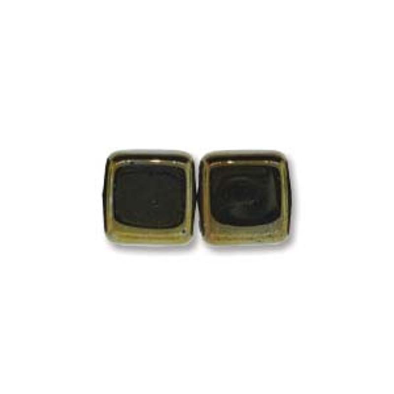 2-Hole CzechMates Tile Beads, Brown Iris (Qty: 25)