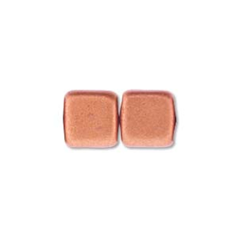 2-Hole CzechMates Tile Beads, Matte Metallic Copper (Qty: 25)