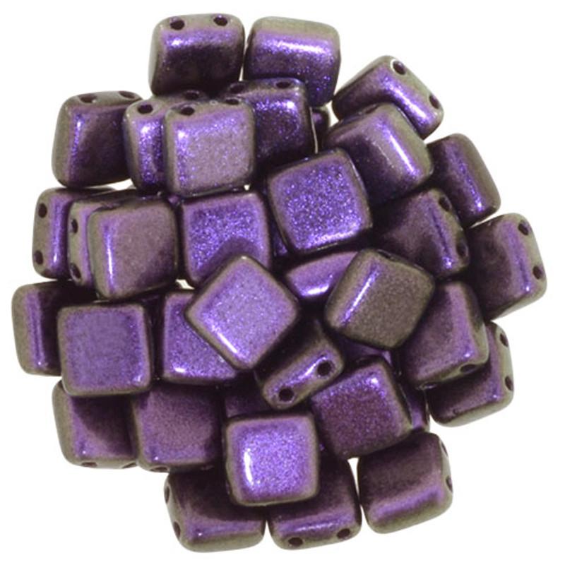 2-Hole CzechMates Tile Beads, Black Currant (Qty: 25)