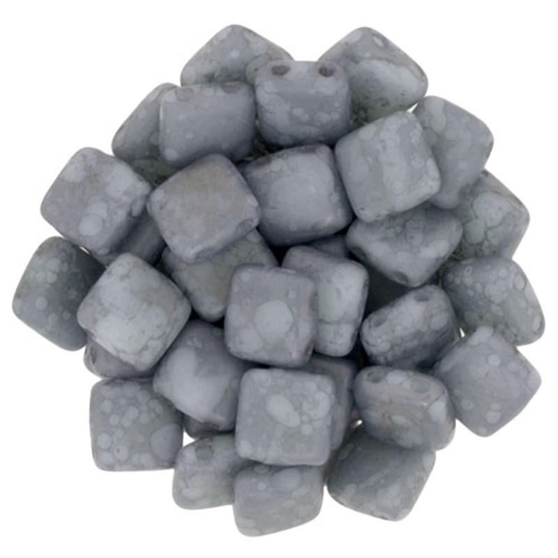2-Hole CzechMates Tile Beads, Matte Opaque Pale Turquoise (Qty: 25)