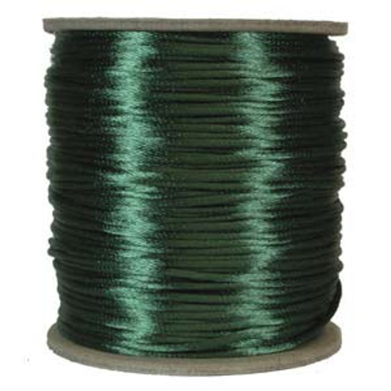 2mm Satin Cord (Rattail), Dark Green (6 yds.)