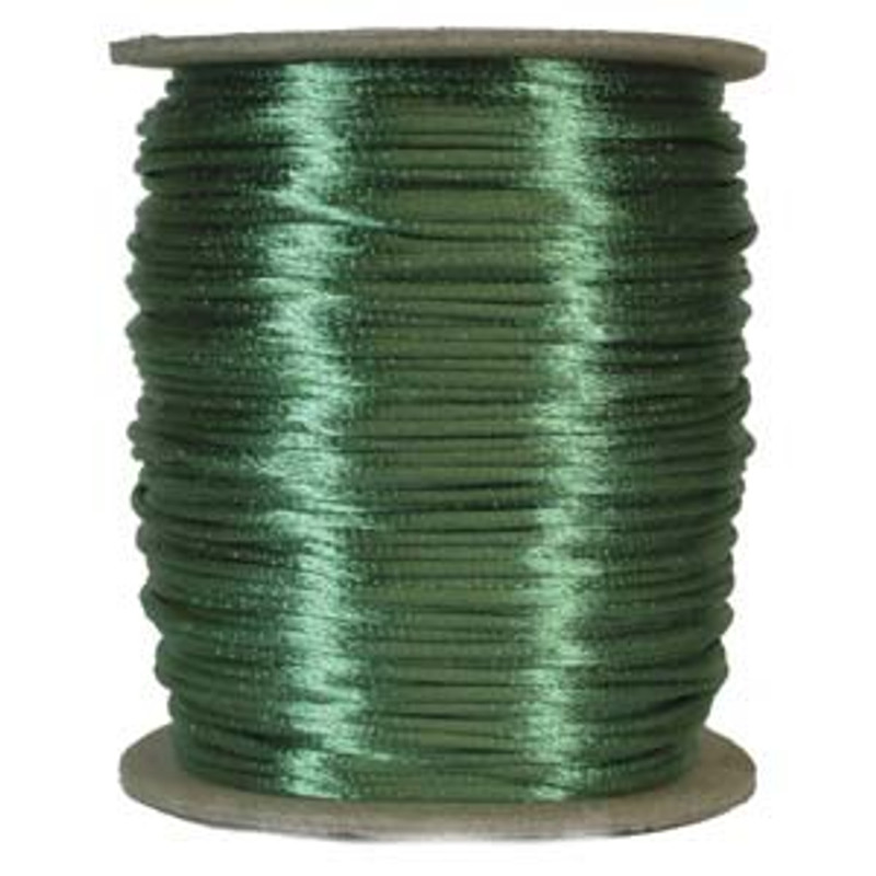 2mm Satin Cord (Rattail), Emerald (6 yds.)