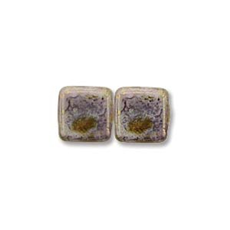 2-Hole CzechMates Tile Beads, Alabaster Luster Trans Gold (Qty: 25)