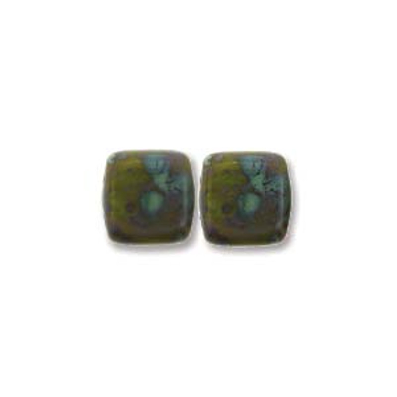 2-Hole CzechMates Tile Beads, Opaque Olive Picasso (Qty: 25)