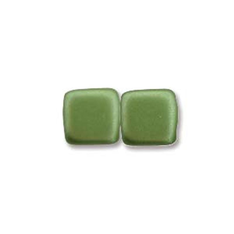 2-Hole CzechMates Tile Beads, Olive Green (Qty: 25)