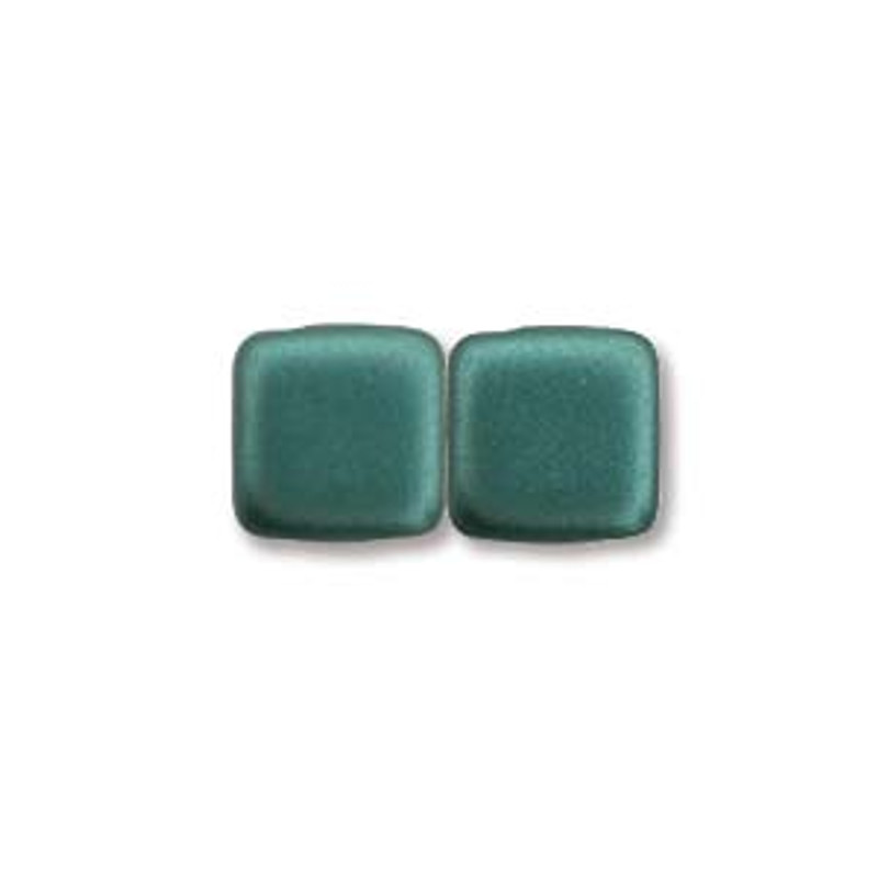 2-Hole CzechMates Tile Beads, Dark Green (Qty: 25)