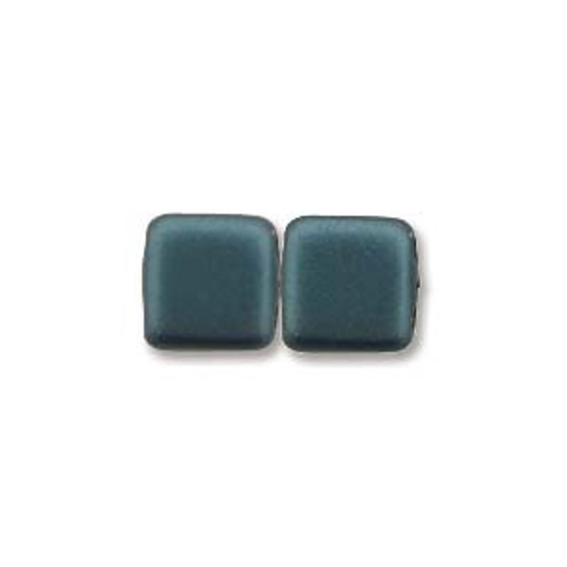 2-Hole CzechMates Tile Beads, Dark Turquoise (Qty: 25)