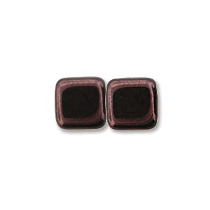 2-Hole CzechMates Tile Beads, Metallic Amethyst Luster (Qty: 25)