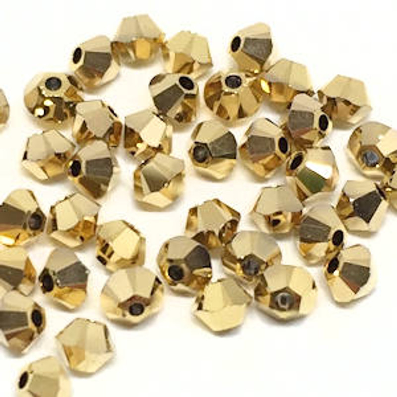 3mm Swarovski Bicones, Aurum 2X (Qty: 50)