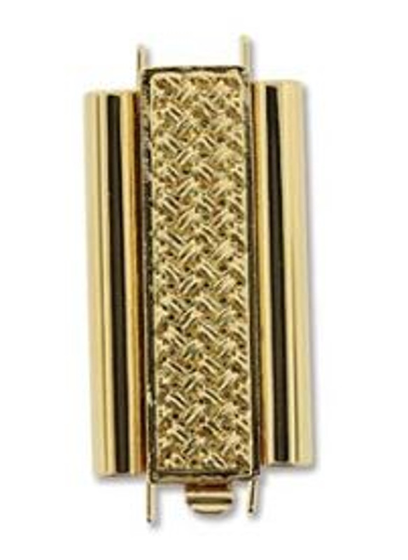 Elegant Elements BeadSlide Clasp, Cross Hatch, Gold Plated, 24mm