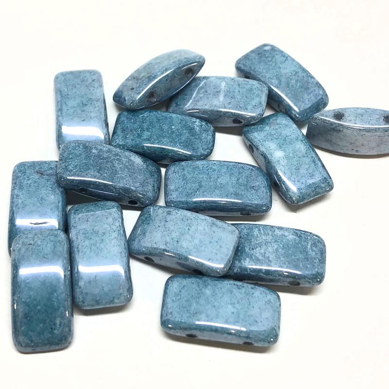 Carrier Beads, Czech Glass, 2-hole, Blue Luster (Qty. 15)