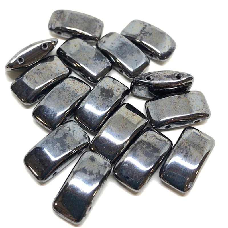 Carrier Beads, Czech Glass, 2-hole, Hematite (Qty. 15)
