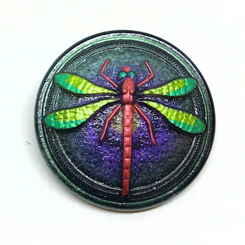 (30mm) Green/Purple w/ Painted Dragonfly (B-007)
