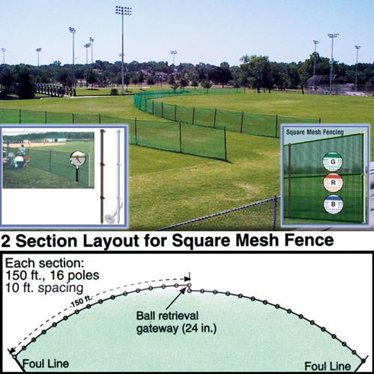 Baseball Outfield Fencing 150' Roll