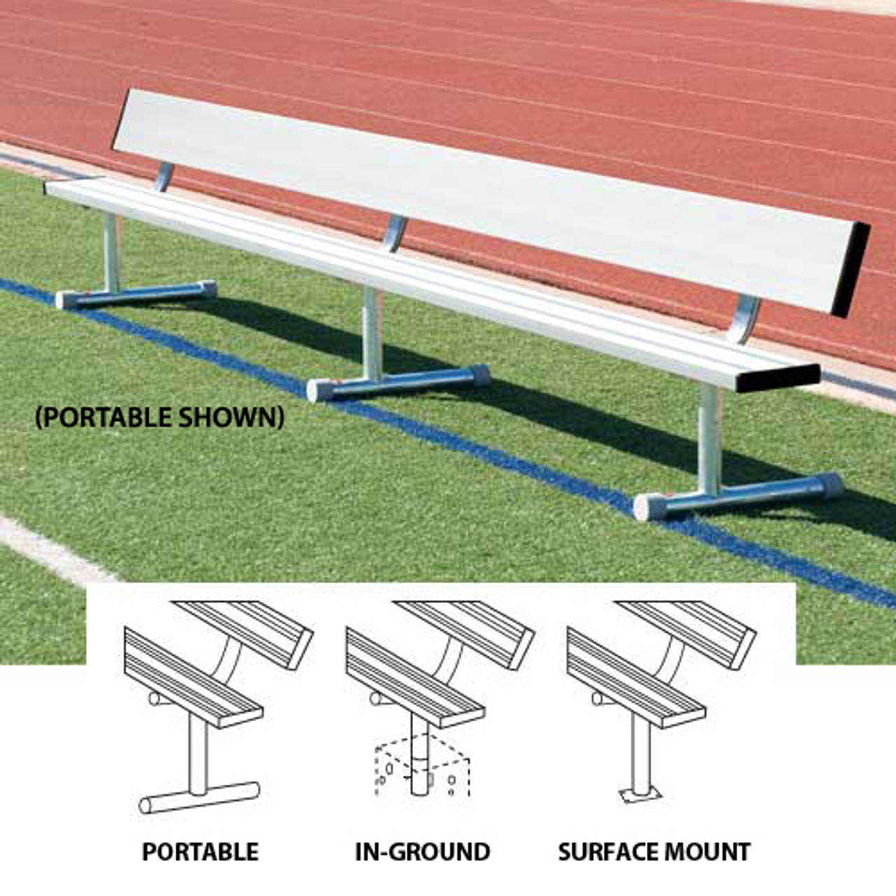 15' Aluminum Player's Bench with Back