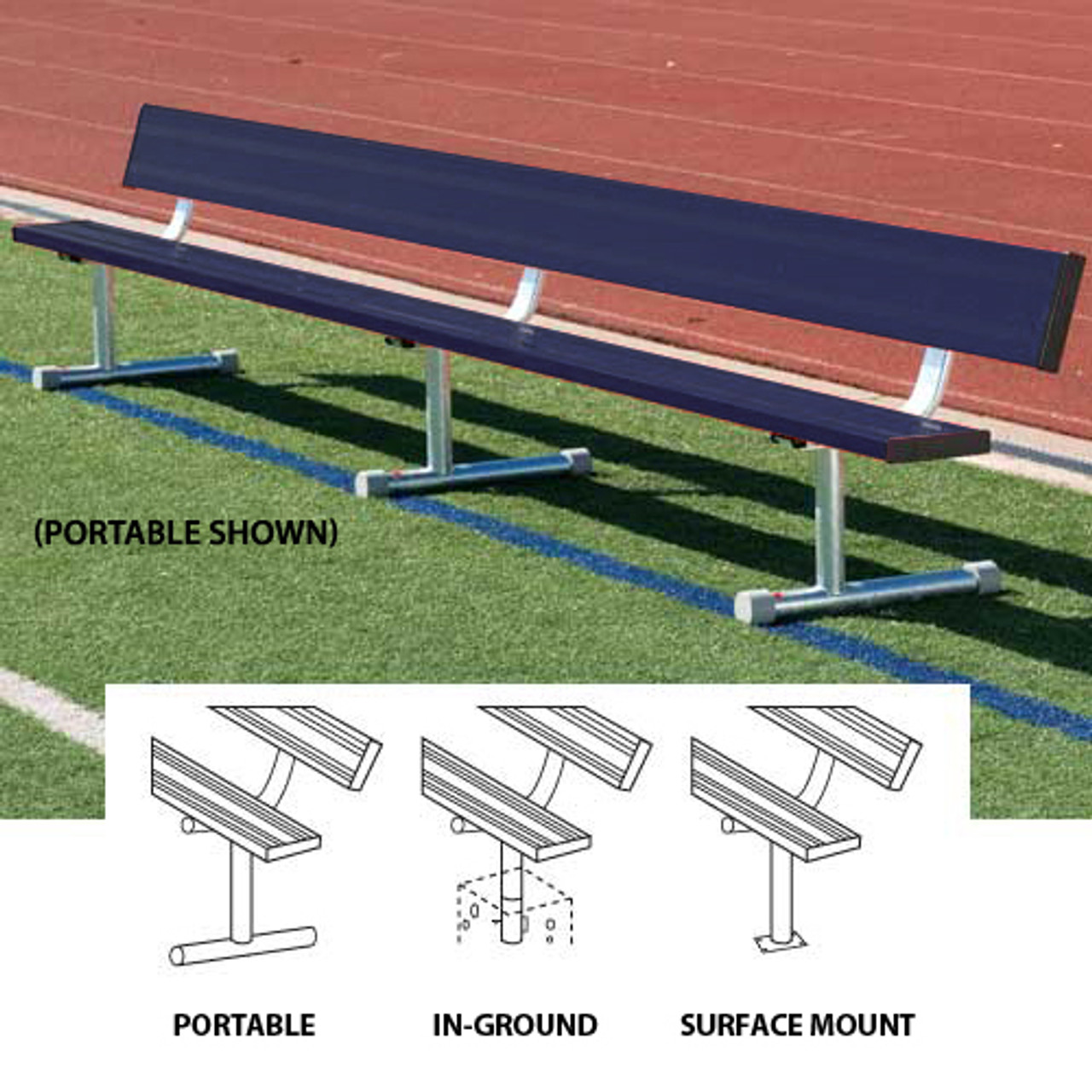 15' Aluminum Powder Coated Player's Bench with Back