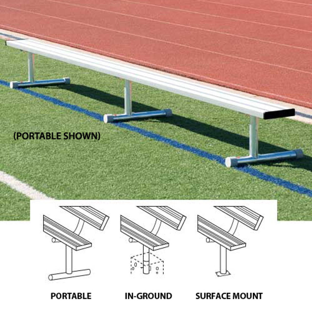 Aluminum Player's Bench without Back 21'