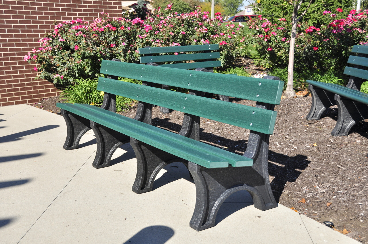 Recycled Plastic Outdoor and Park Bench Colonial 8'