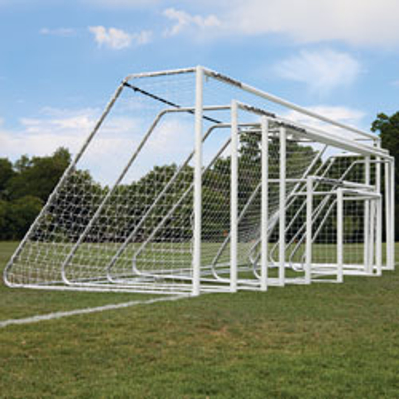 "Alumagoal Soccer Goals 3"" Round White Powder Coated 7x21'"