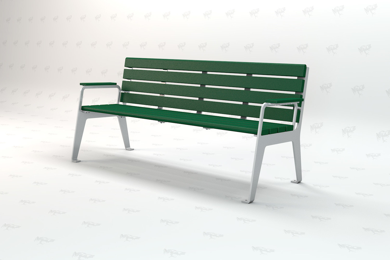 6 ft Plaza Recycled Plastic Outdoor and Park Bench