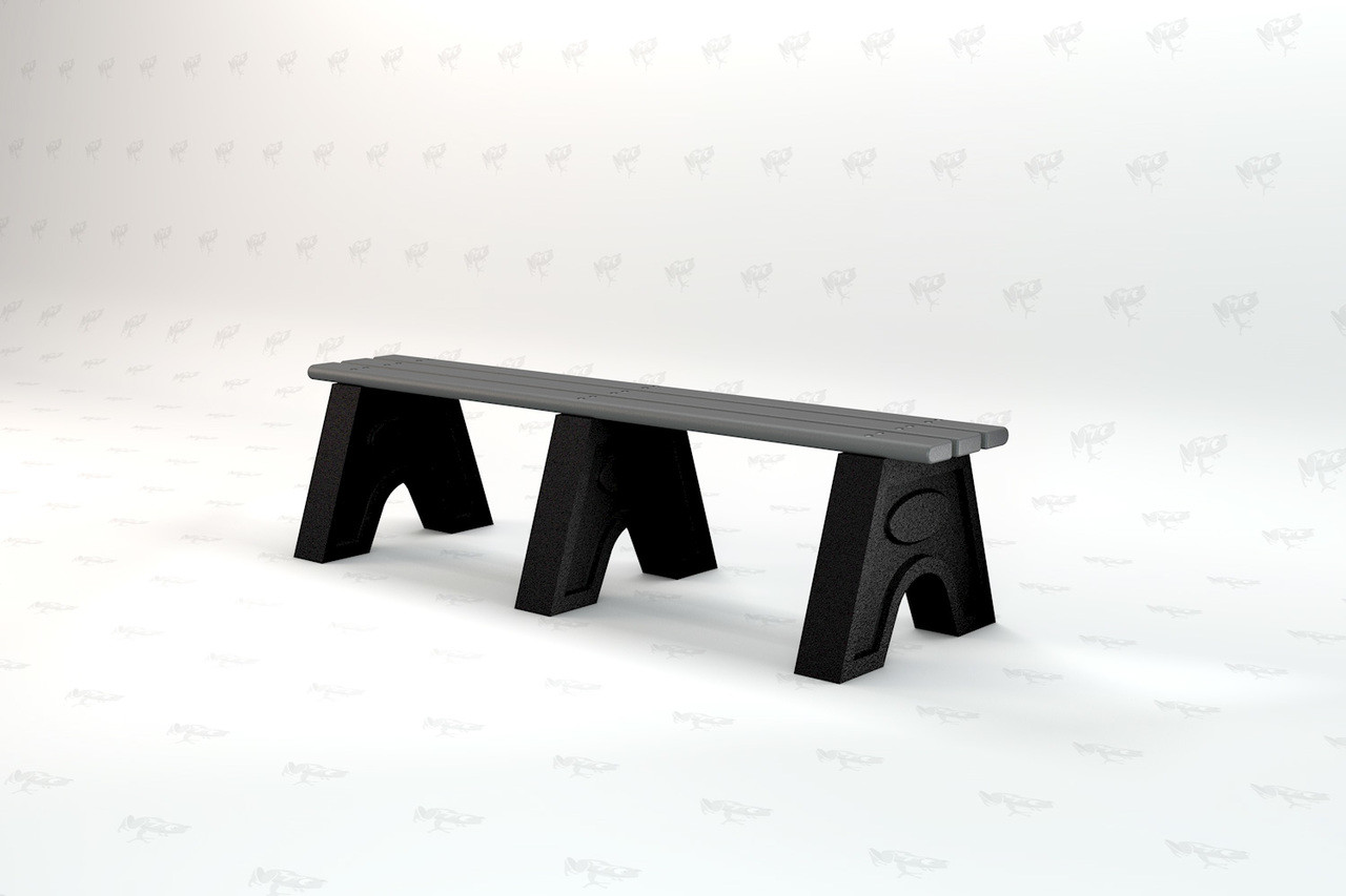 6ft. Sport Recycled Plastic Outdoor and Park Bench - Gray