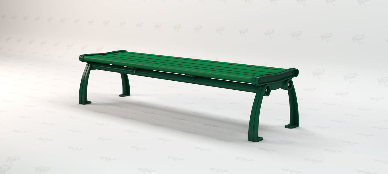 8ft. Heritage Backless Recycled Plastic Outdoor and Park Bench - Green