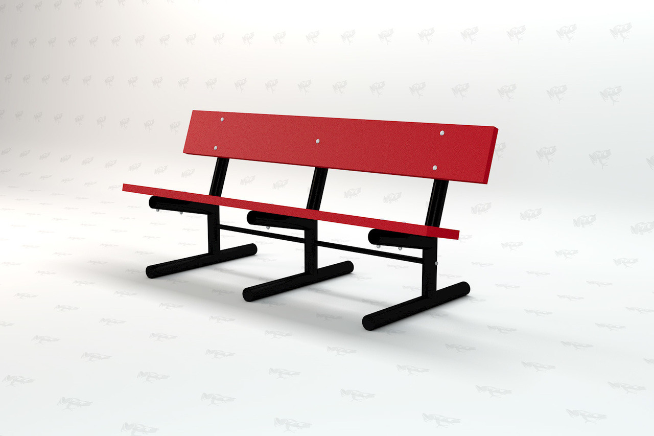 6ft. Madison Recycled Plastic Outdoor and Park Bench - Red