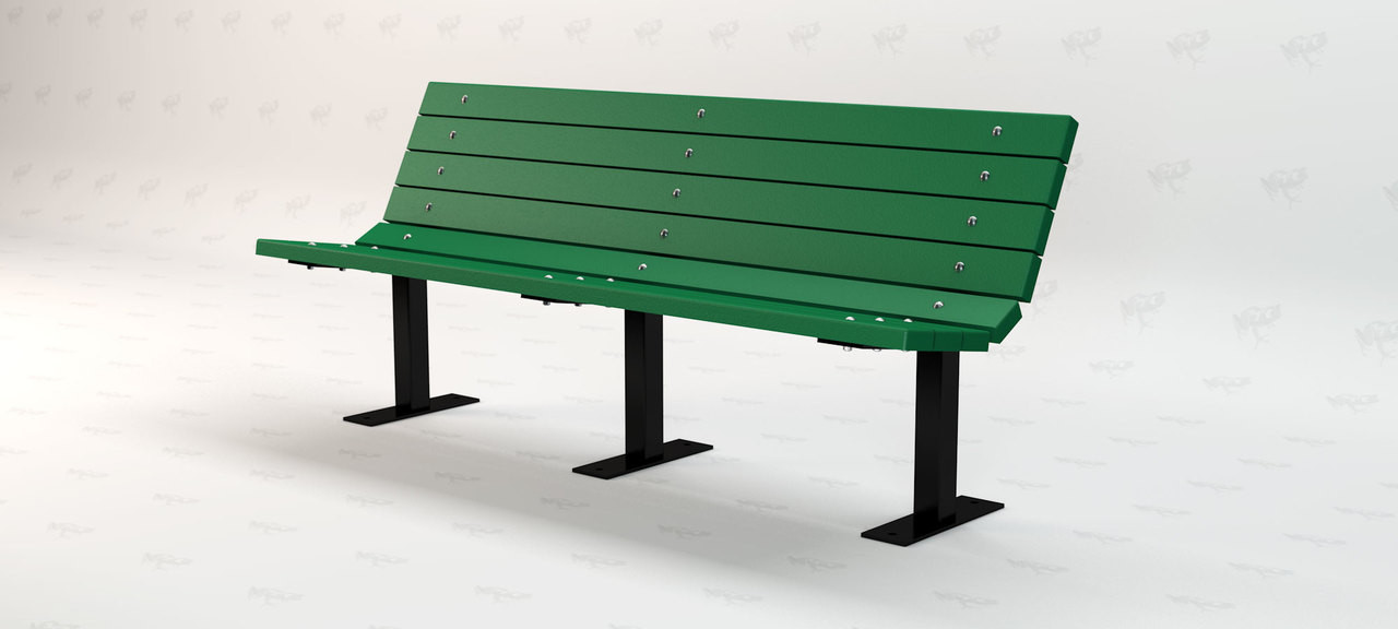 6ft. Contour Recycled Plastic Outdoor and Park Bench - Green