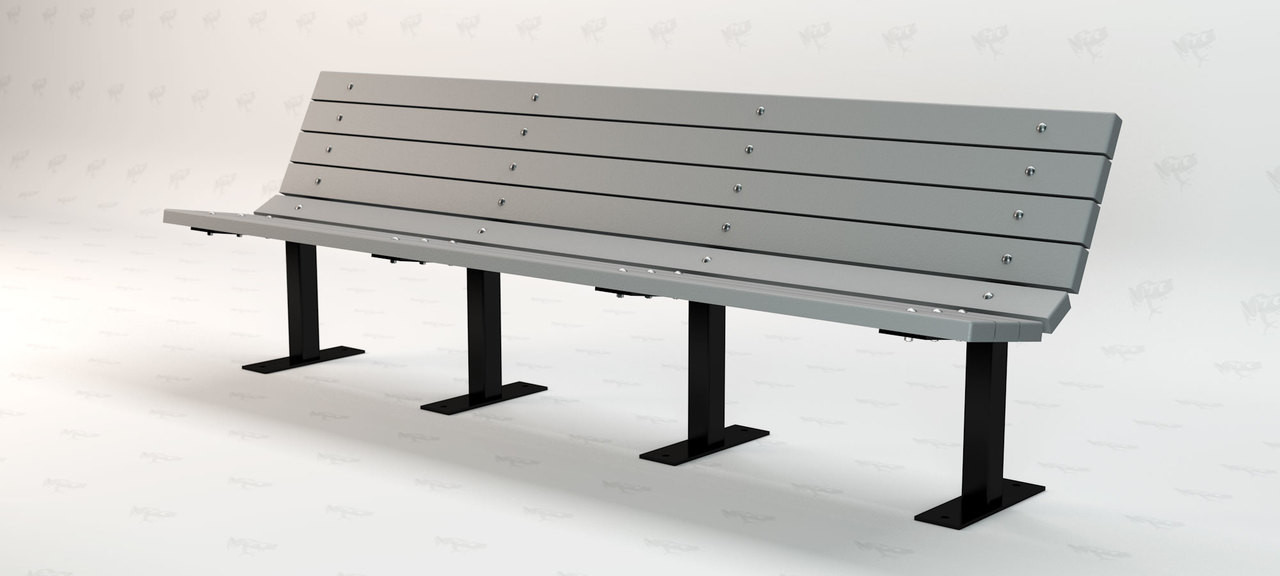 8ft. Contour Recycled Plastic Outdoor and Park Bench - Gray