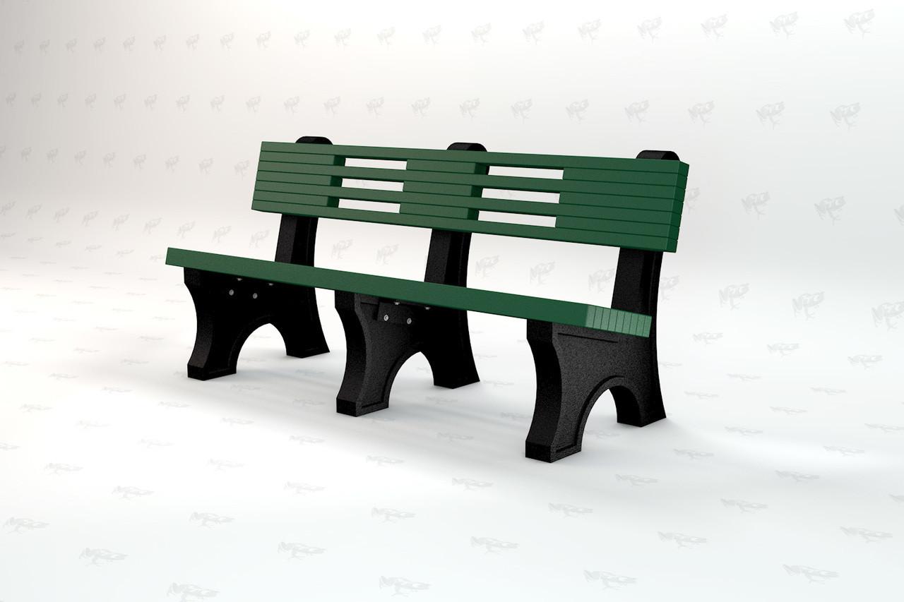 4ft Ariel Recycled Plastic Outdoor and Park Bench - Green