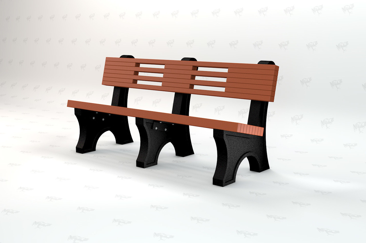 4ft Ariel Recycled Plastic Outdoor and Park Bench - Redwood