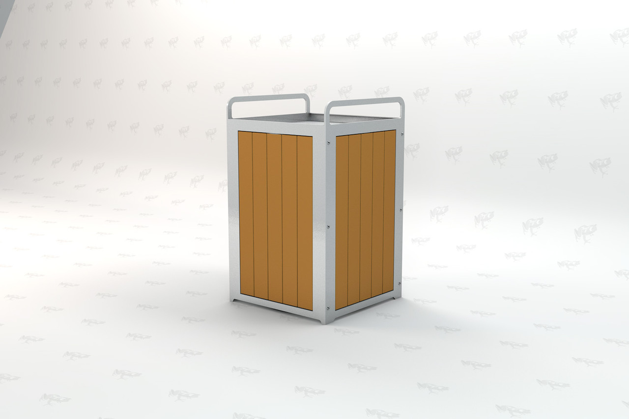 Plaza Recycled Plastic Receptacle - Cedar