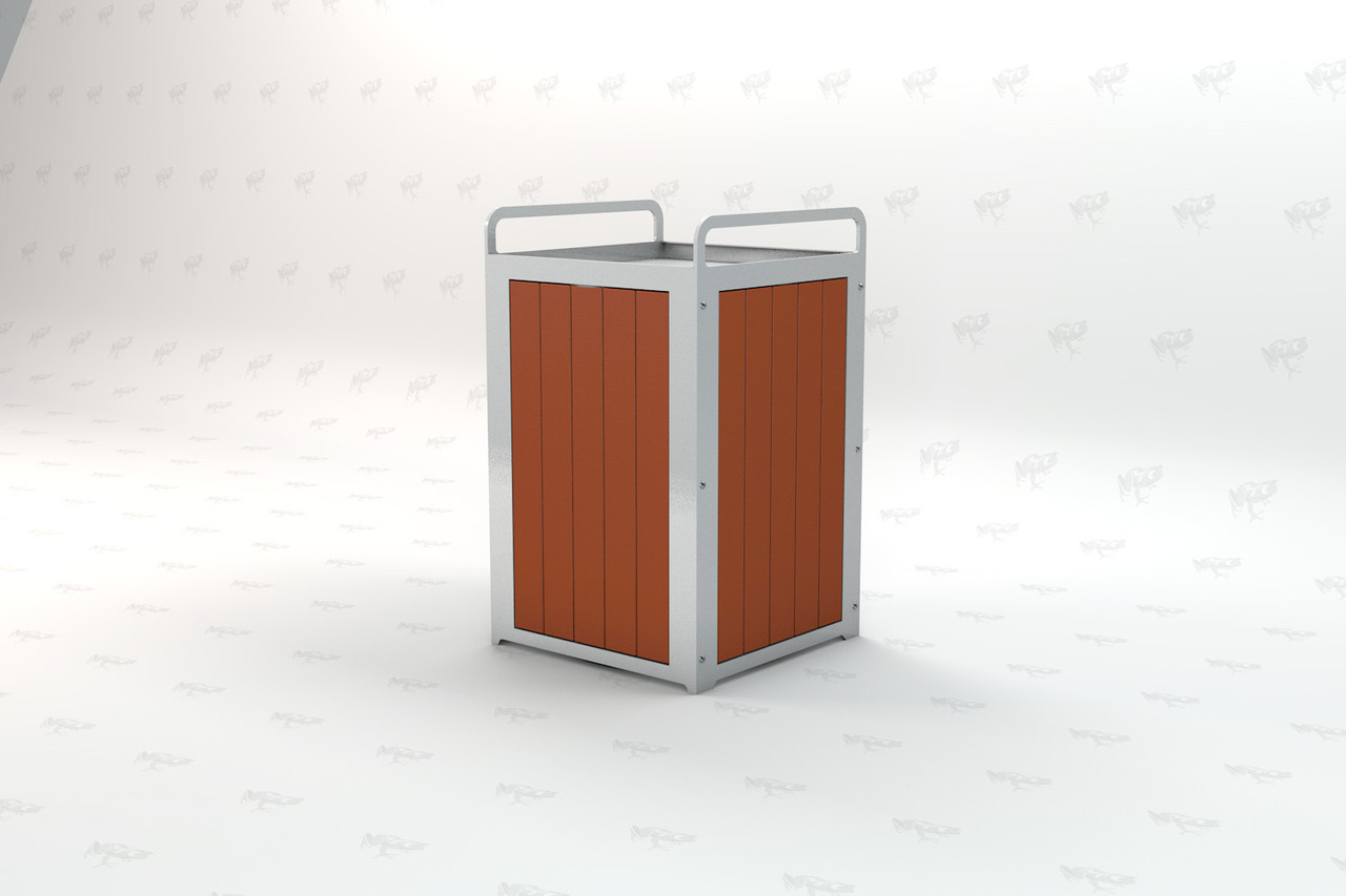 Plaza Recycled Plastic Receptacle - Redwood