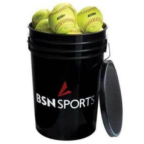 "BSN SPORTS Bucket w/2 dz 11"" Softballs"