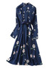 Floral Print Button-down A-line Shirt Dress in Navy