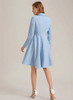 Fit-and-Flared Belted Dress Coat in Baby Blue
