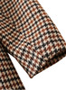 Straight-Cut Checked Calf-Length Coat in Beige