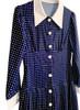 Navy Button-Down Polka Dot Midi Shirt Dress