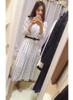High Neck Monochrome Print Pleated Dress