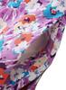 V-neck Shirred Short Sleeve Floral Midi Dress in Lavender