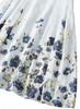 Deep Blue Satin Blouse & Floral Print High Waist Skirt Set