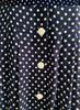 Navy Button-Down Polka Dot Midi Shirt Dress in Long Version