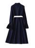 Button-front Stretch-denim Belted Shirt Dress in Indigo