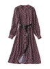 V-neck Button Front Belted Silk Midi Dress in Geometric Print