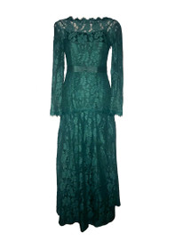 Floral Lacy Body-hugging Maxi Dress in Dark Green