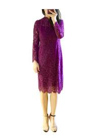 Floral Crochet Lace Midi Dress in Purple