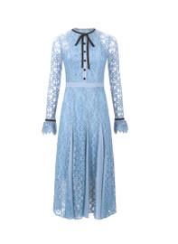 Victorian Style Iris Lace Midi Dress in Sky Blue