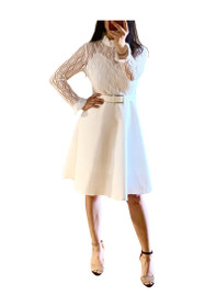 Lacy Pointelle-Knit Ruffle Skater Dress in Cream