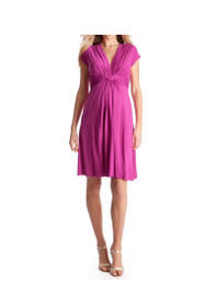 Knot Front Jersey Maternity Dress in Hot Pink