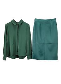 Straight Fit Shirt & Panel Pencil Skirt Set in Dark Green